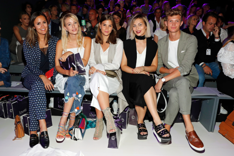 BERLIN, GERMANY - JUNE 29:  (L-R) Laura Noltemeyer, Leonie Sophie Hanne, Nina Schwichtenberg, Masha Sedgwick and Patrick Kahlo attend the Laurel show during the Mercedes-Benz Fashion Week Berlin Spring/Summer 2017 at Erika Hess Eisstadion on June 29, 2016 in Berlin, Germany.  (Photo by Luca Teuchmann/Getty Images for Laurel)
