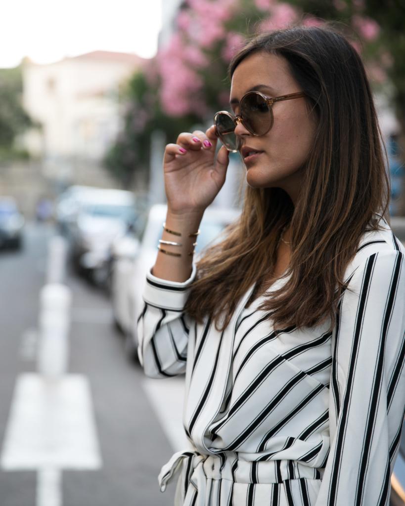 valentino sunglasses, valentino sonnebrille, vintage designer sunglasses, gestreiftes oberteil, schwarz weiss kleid