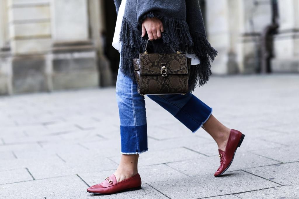 Cashmere Scarf, cropped jeans, red gucci loafer, gucci slipper red, mini satchel, mini bag, crossbody bag henri bendel
