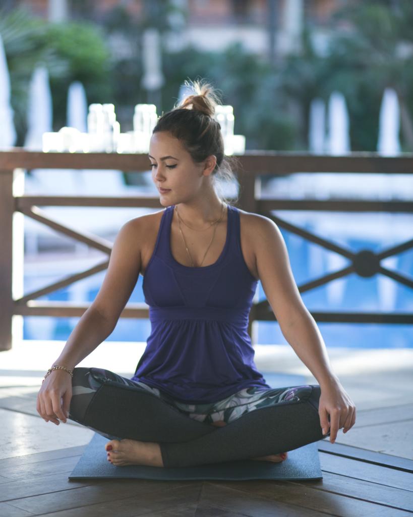 Yoga - blaues Top, Leggins