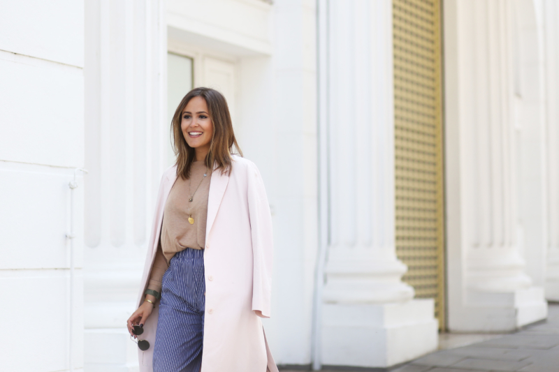 BLUE COULOTTES AND ROSÉ COAT