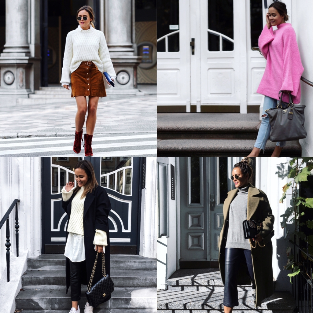 Brown Skirt, White Knit, Red Boots - Pink Knit, Jeans, Grey Bag - Black Bag, Black Coat, White Knit - Olive Coat, Black Pants, Sunglasses
