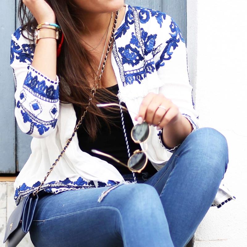 blau weiße bluse mit muster