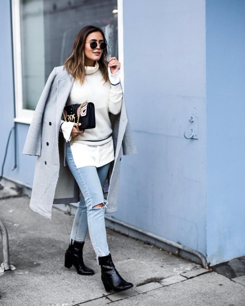 Casualchic - Jeans, Mantel, Pullover, Tasche, Stiefeletten, Sonnenbrille