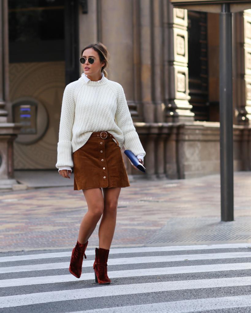 Brown Skirt - Zara, Red Boots - Zara, Sunglasses, White Blouse - Edited, White Knit - Edited, Bag - Prada