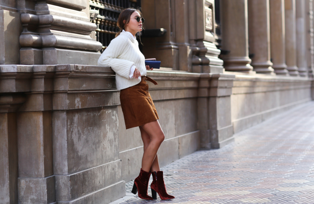 Brown Skirt - Zara, Red Boots - Zara, White Blouse - Edited, White Knit - Edited, Bag - Prada