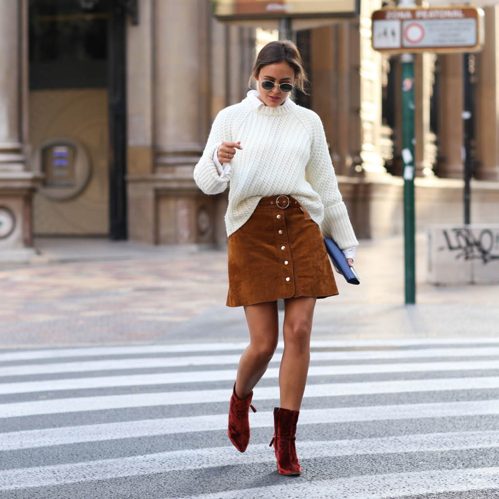 Brown Skirt - Zara, Red Boots - Zara, White Blouse - Edited, White Knit - Edited, Bag - Prada, Sunglasses
