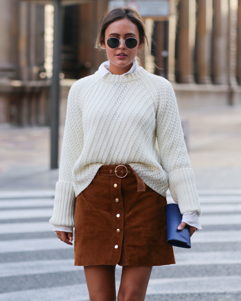 Brown Skirt - Zara, White Blouse - Edited, White Knit - Edited, Bag - Prada, Sunglasses