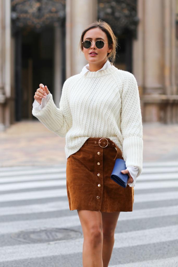 Sunglasses, Brown Skirt - Zara, White Blouse - Edited, White Knit - Edited, Bag - Prada