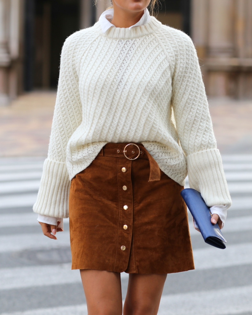 Brown Skirt - Zara,, White Blouse - Edited, White Knit - Edited, Bag - Prada