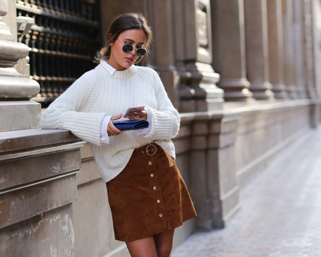 Brown Skirt - Zara, Red Boots - Zara, White Blouse - Edited, White Knit - Edited, Bag - Prada, Sunglasses, Phone