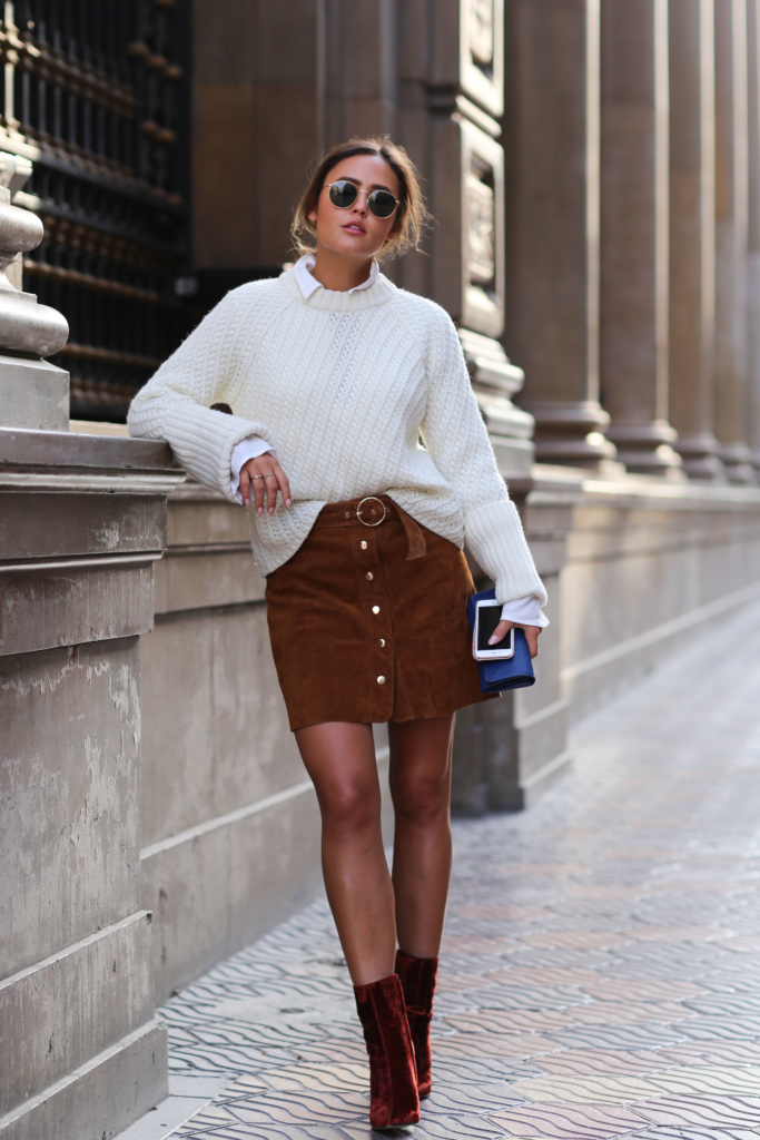 Sunglasses, Phone, Brown Skirt - Zara, Red Boots - Zara, White Blouse - Edited, White Knit - Edited, Bag - Prada